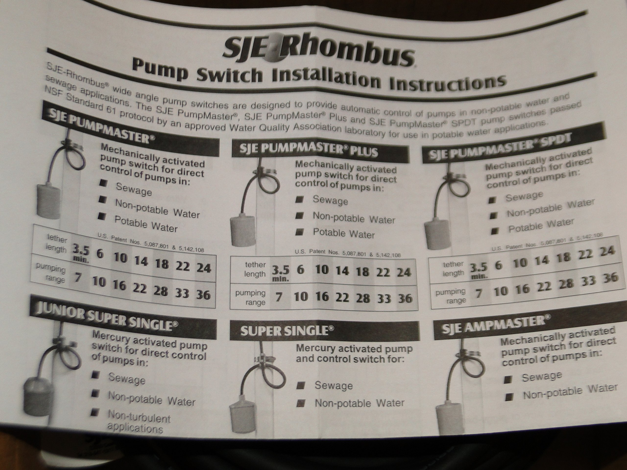 Float Switch PUMPMASTER Pump Switch SJE-RHOMBUS Pump Down 20PMD1WP 20FT 120 V w/PLUG
