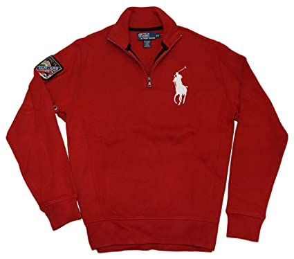 23fdf86a Ralph Lauren Polo Mens Big Pony Half-Zip Ski Sweatshirt Sweater Red White  Small