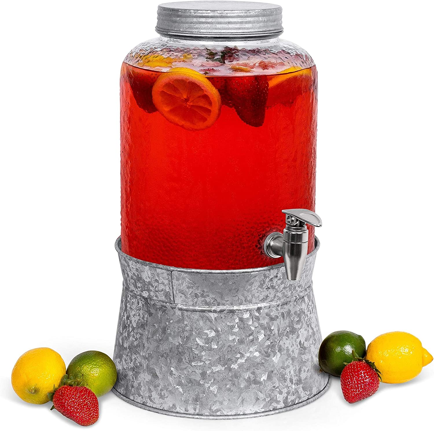 BirdRock Home 2.5 Gallon Pebbled Glass Beverage Dispenser with Galvanized Stand - Lid - Spigot - Decorative Round Jar for Drinks - Lemonade Sangria Tea Water Drink Jar Jug - Home Parties