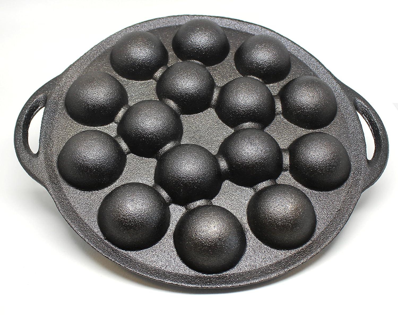 1.5 Dia Half Sphere Molds Takoyaki and Thai Kanom Krok and Other Desserts Pre-Seasoned Kasian House Cast Iron Griddle for Making Poffertjes Pancake Balls
