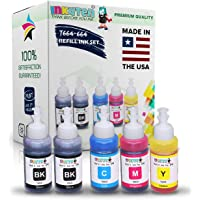 INKUTEN (TM) Set of 5 Refill Ink Kit Ecotank 70ml for T6641 T6642 T6643 T6644 and Expression Eco Tank ET-2500 ET-2550 ET-4500 ET-4550 L100 L110 L120 L200 L210 L300 L350 L355 L550 L555 Printers