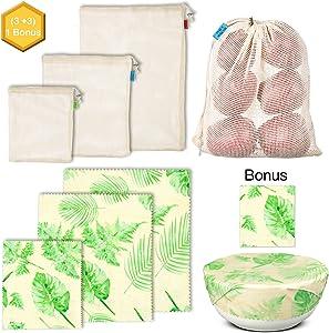 UGOS Reusable Organic Beeswax Food Wrap and Cotton Mesh Produce Bags (Leaves & Mesh Bags)