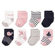 Luvable Friends Unisex 8 Pack Newborn Socks, Girl Sailboat, 0-6 Months
