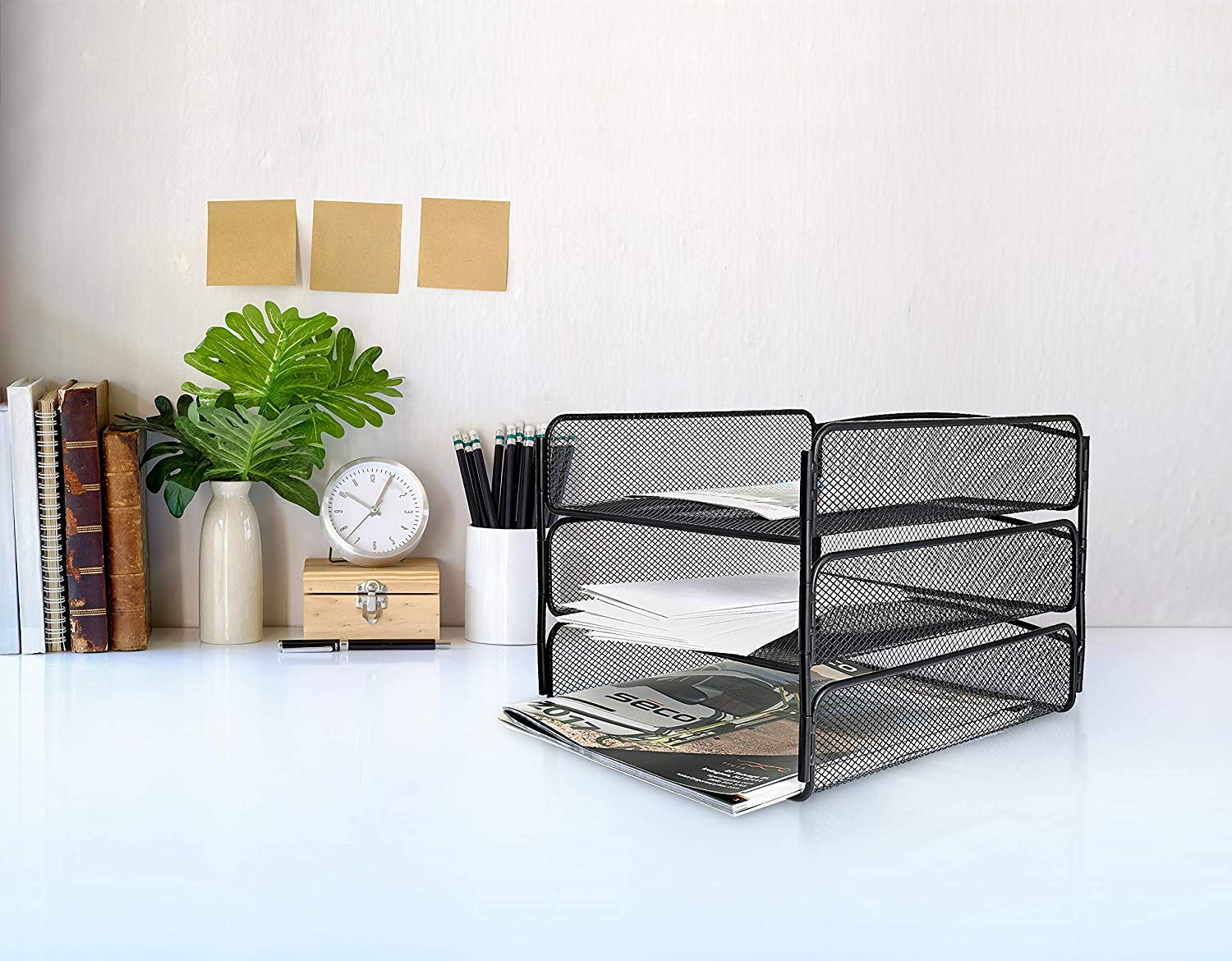 AdirOffice Mesh Desktop Organizer with Triple Tray Black Easy Use Compartment /& Drawer for Home /& Office Use Contemporary Tabletop Shelf Rack