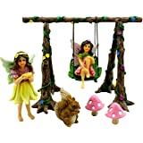 PRETMANNS Fairy Garden Accessories – Miniature Fairies & Fairy Swing Set with Squirrel & Mushrooms – Fairy Garden…