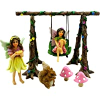 Fairy Garden Kit Swing Set with Miniature Fairies & Accessories - Figurines Avie and Stella by Pretmanns
