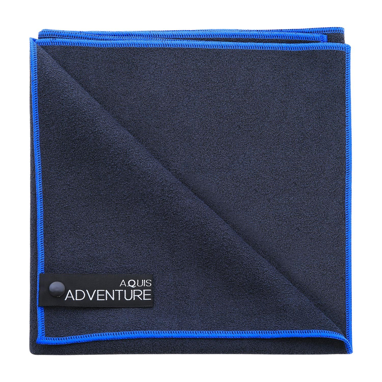 Aquis - Adventure Microfiber Sports Towel, Quick-Drying Comfort Great for Gym, Travel or Camping Towel, Black with Blue Trim (Large/19 x 39 Inches)