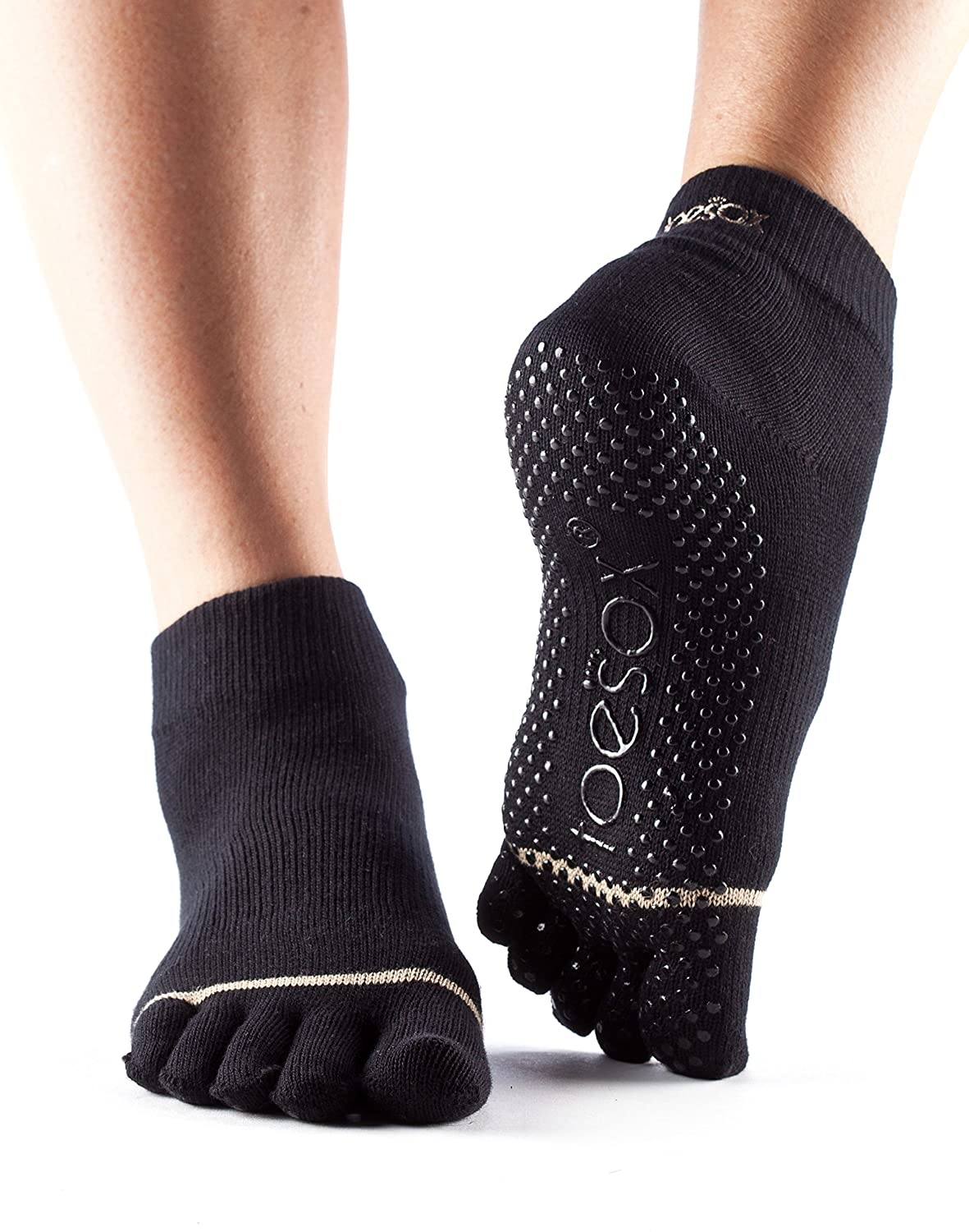 ToeSox Women's Ankle Full Toe Grip Socks (Black) Medium S01026BLK