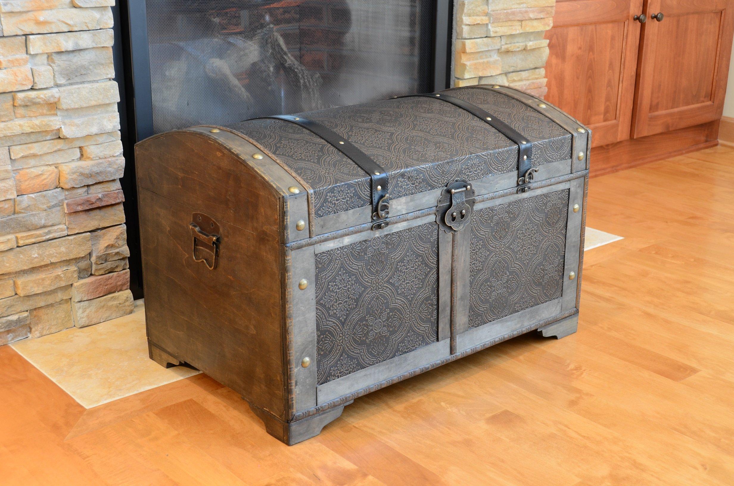Nostalgic Medium Wood Storage Trunk Wooden Treasure Chest by Styled Shopping