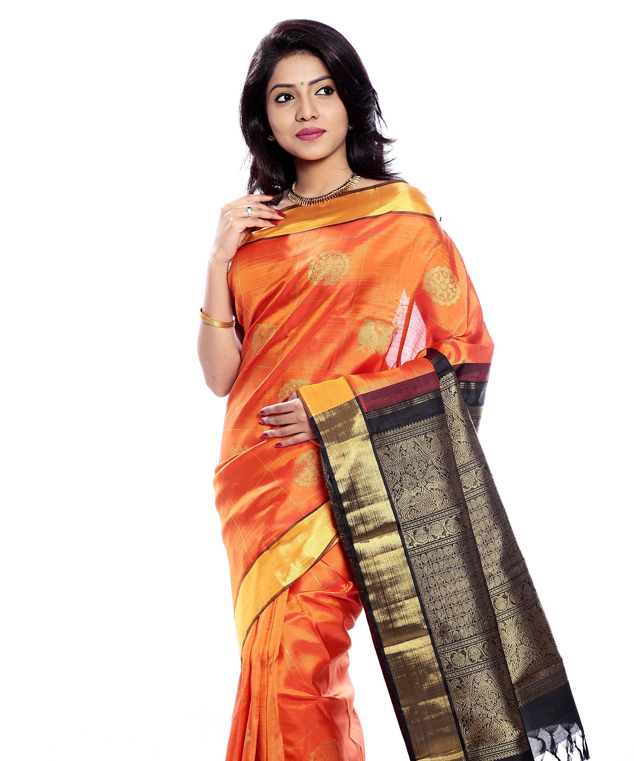 Mandakini — Indian Women's Kanchipuram - Handloom - Pure Zari & Pure Silk Saree (Orange ) (MK207) by Mandakini (Image #2)