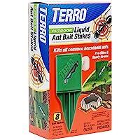 TERRO T1812 Outdoor Liquid Ant Killer Bait Stakes - 8 Count (0.25 oz each)