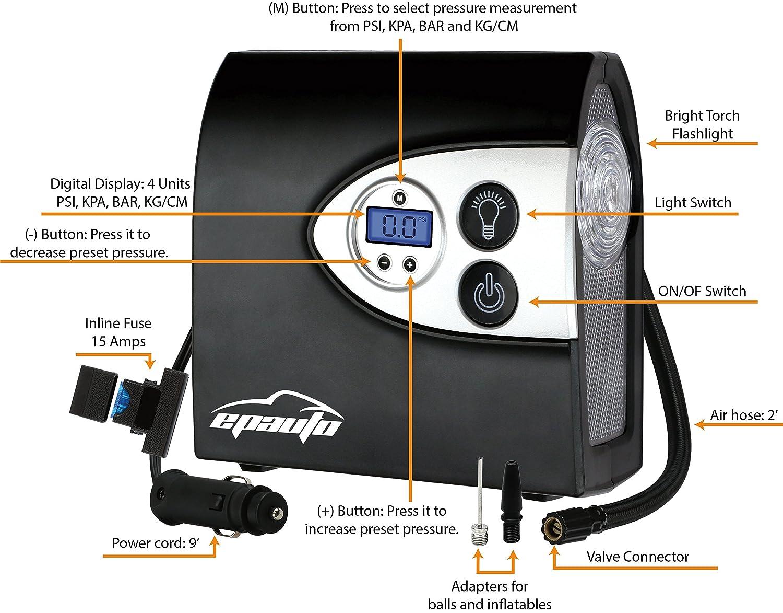 amazon com epauto 12v dc auto portable air compressor pump w rh amazon com