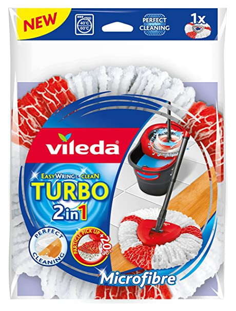 Amazon.com: Vileda Easy Wring & Clean Turbo 2 in1 Microfibre Mop Refill Head: Health & Personal Care