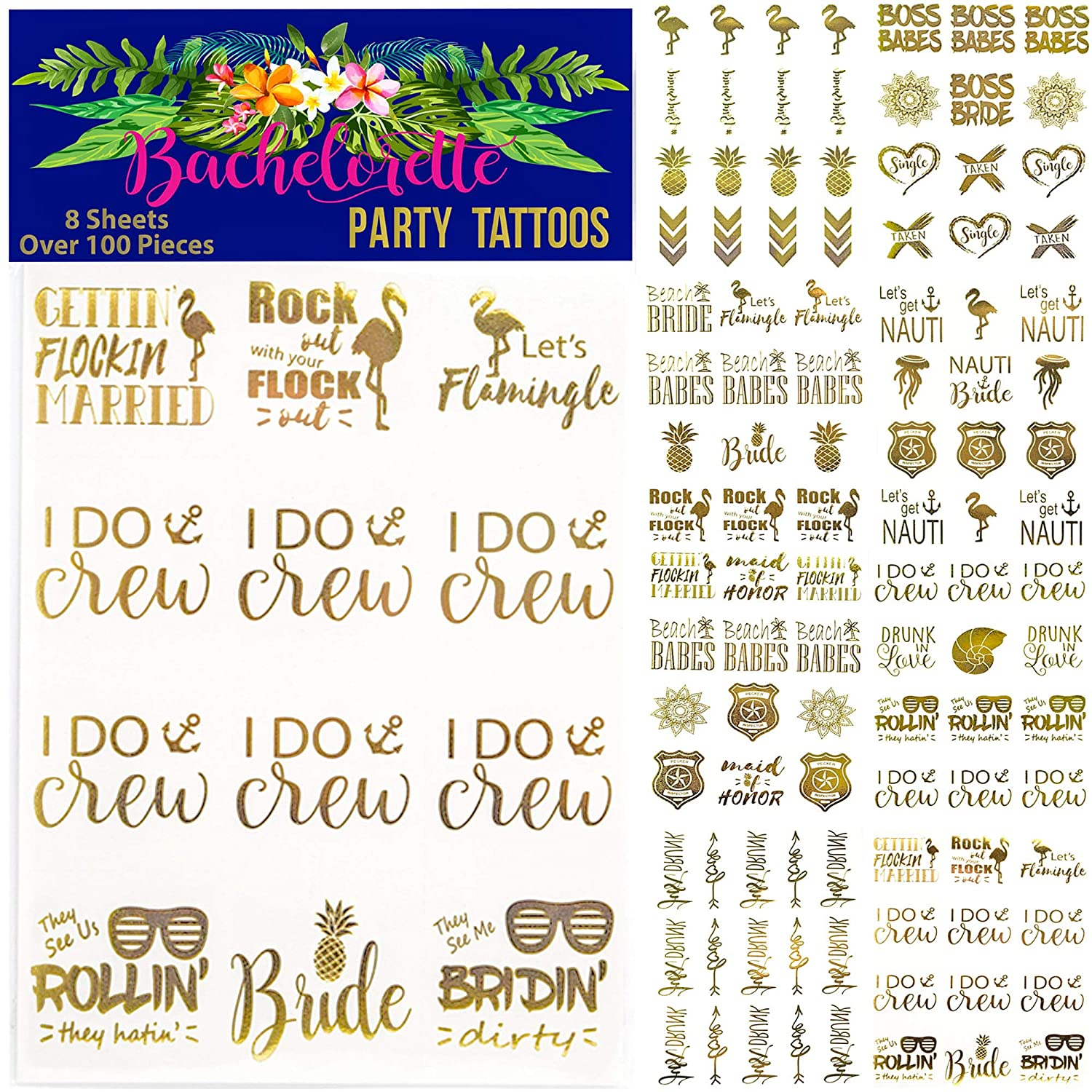 Happy Magnolia 100+ pc Bachelorette Party Tattoos/Bride Tattoo (8 Sheets) Perforated Temporary Metallic Gold Tattoos Quick Bridal Shower Party Favor Decorations: Bridesmaid, Maid of Honor, Funny