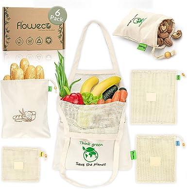 FlowEco - Bolsas de la compra reutilizables para verduras, juego de 6 unidades, 100% algodón orgánico, bolsas de algodón para frutas y verduras, bolsa de tela de algodón: Amazon.es: Ropa y accesorios