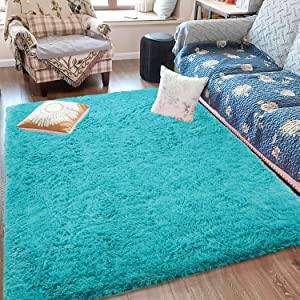 Fluffy Soft Kids Room Rug Baby Nursery Decor, Anti-Skid Large Fuzzy Shag Fur Area Rugs, Modern Indoor Home Living Room Floor Carpet for Children Boys Girls Bedroom Rugs, Teal 5 x 8 Feet