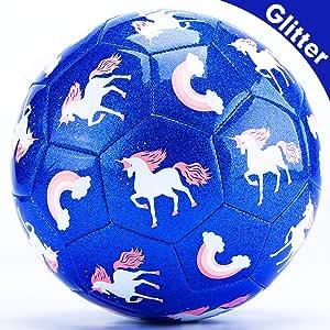 CubicFun Balon Futbol Juguetes para Niños 3 4 5 6 7 8 años, Balones de Fútbol Unicornio Efecto Brillo Pelota Fútbol Talla 3 con Bomba, Bonito Regalo para Niñas Niños: Amazon.es: Deportes y aire libre