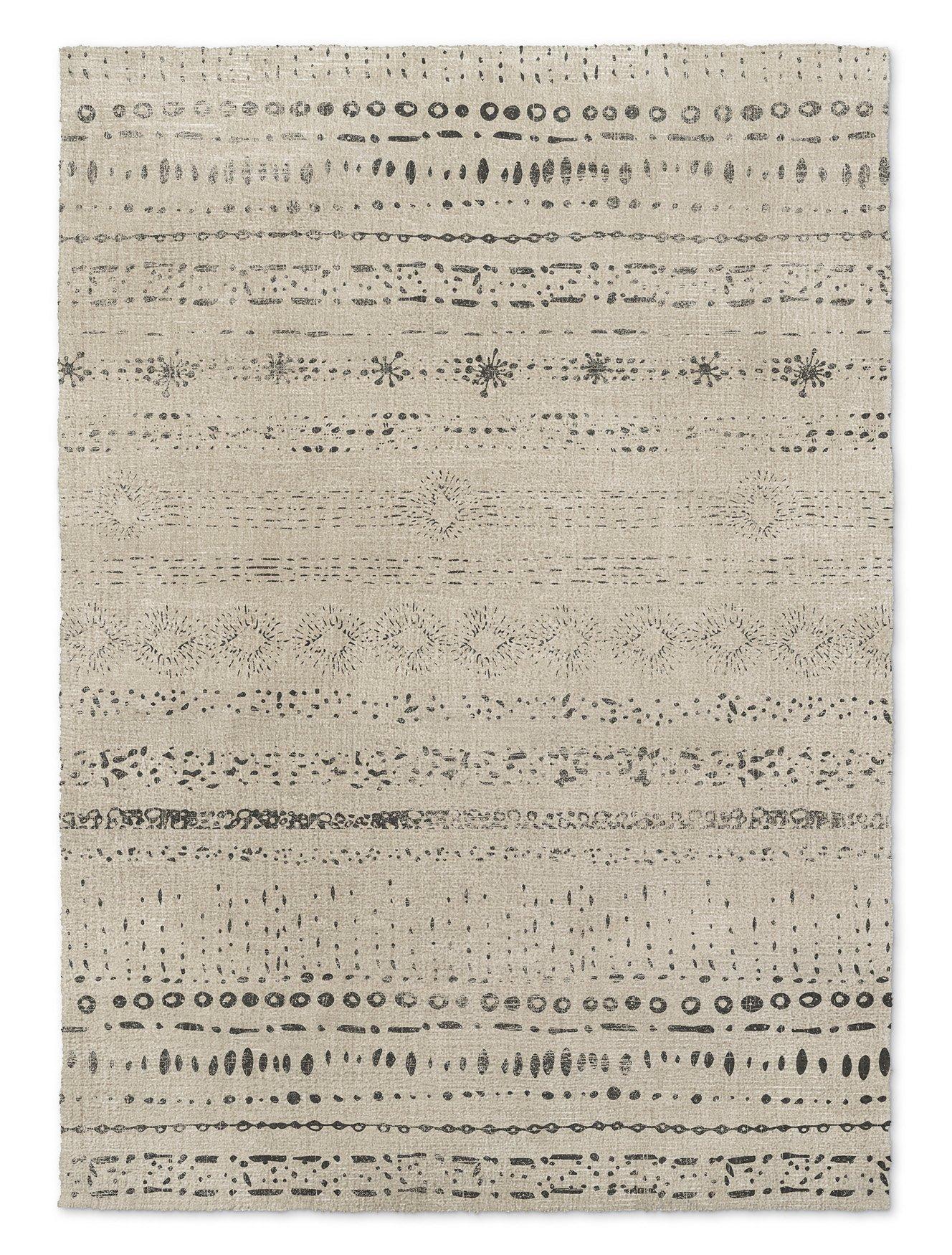 KAVKA Designs Heliopolis Area Rug, (Ivory/Grey) - NAVAJO Collection, Size: 5x7x.5 - (TELAVC1457RUG57)