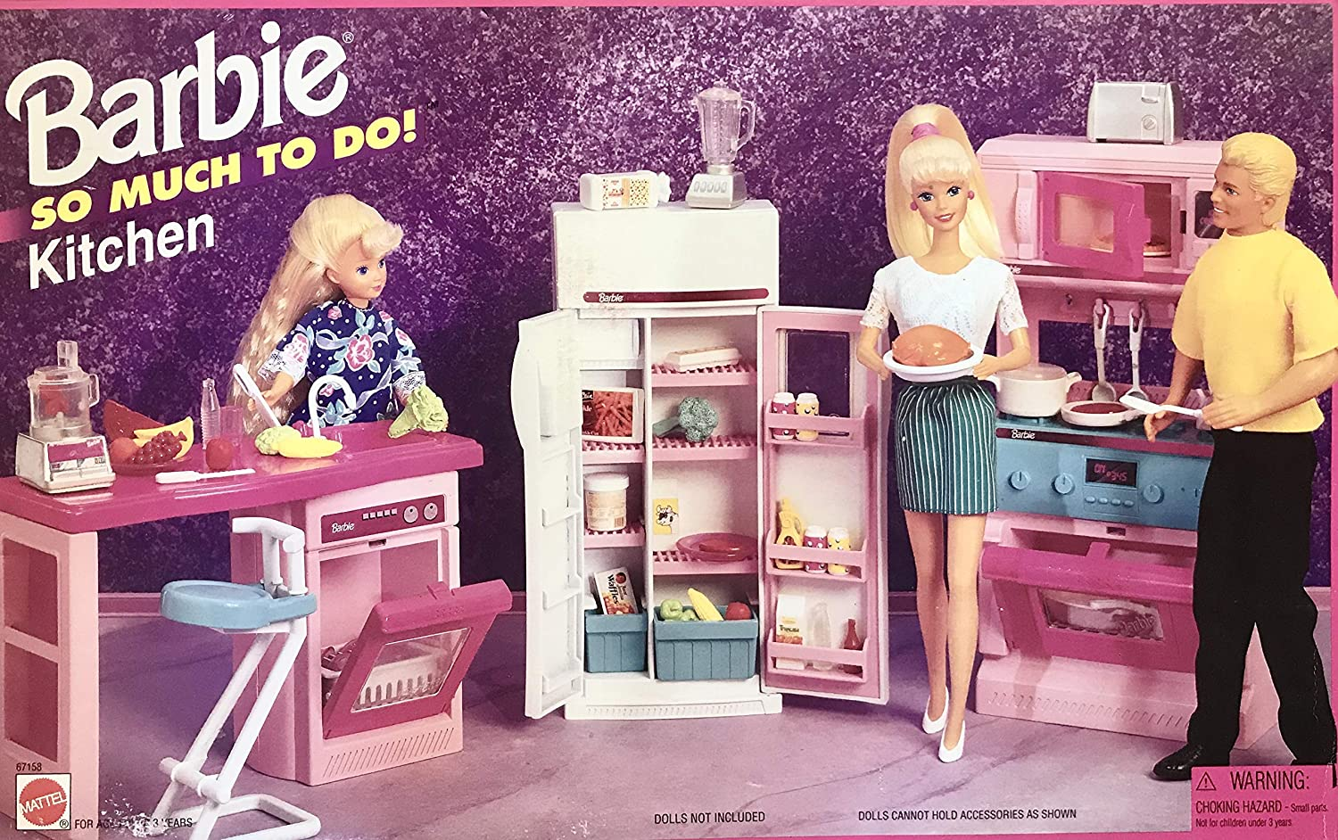 Amazon Com Barbie So Much To Do Kitchen Playset W Cooking Unit With Stove Refrigerator Island With Dishwasher More 1995 Arcotoys Mattel Toys Games