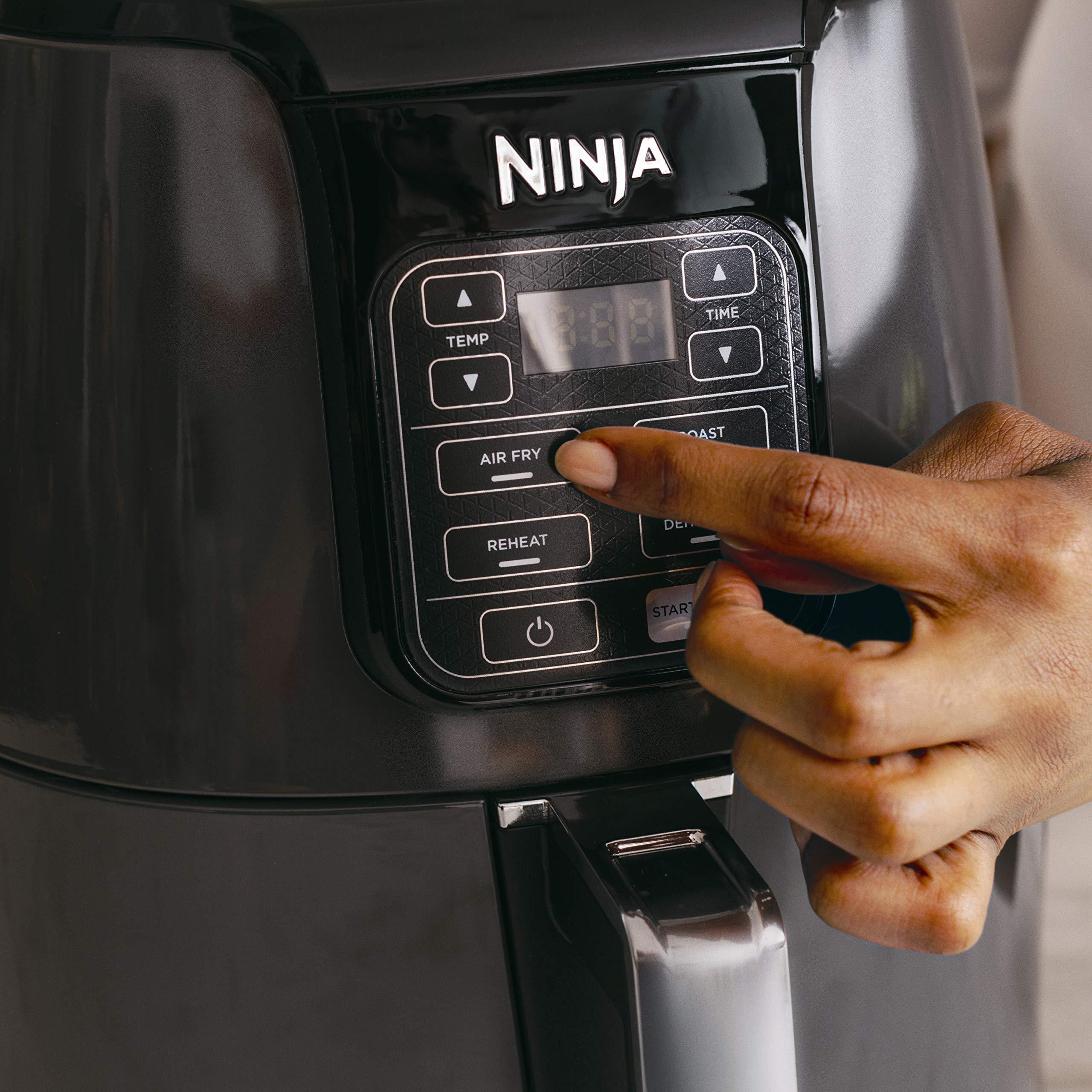 Ninja Air Fryer, 1550-Watt Programmable Base for Air Frying, Roasting, Reheating & Dehydrating with 4-Quart Ceramic Coated Basket (AF101), Black/Gray by Ninja (Image #3)