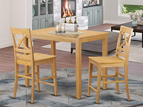 Amazon Com 3 Pc Counter Height Table And Chair Set Small Kitchen Table And 2 Bar Stools With Backs Table Chair Sets
