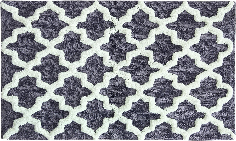 Jessica Simpson Quatrefoil Yarn Dyed Cotton Bath Rug Aqua Sea//White