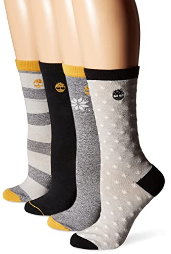 Timberland Women's Crew Boot Sock 4-Pack, Assorted Black, One Size