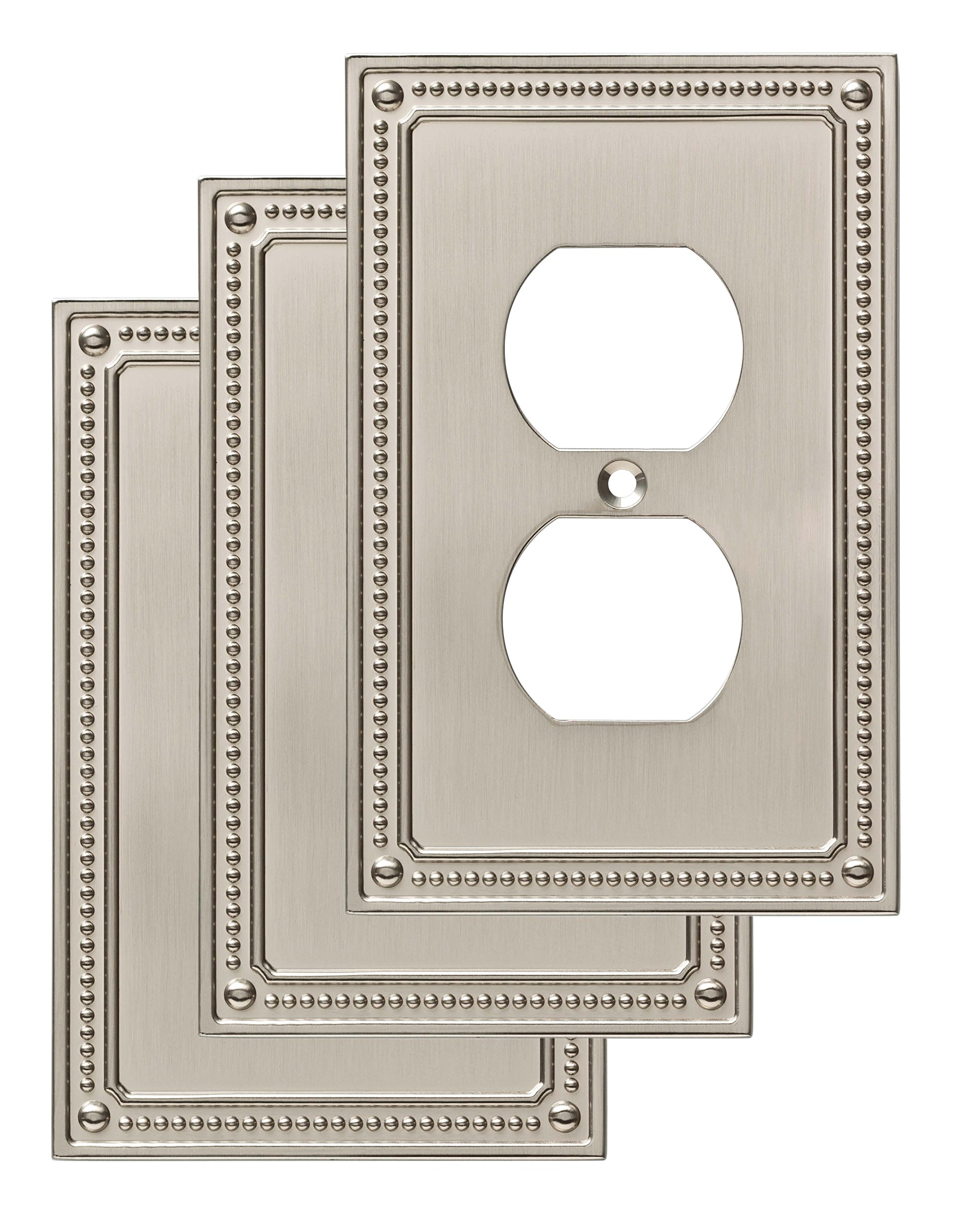 Franklin Brass W35059V-SN-C Classic Beaded Single Duplex Wall Plate/Switch Plate/Cover (3 Pack), Satin Nickel by Franklin Brass