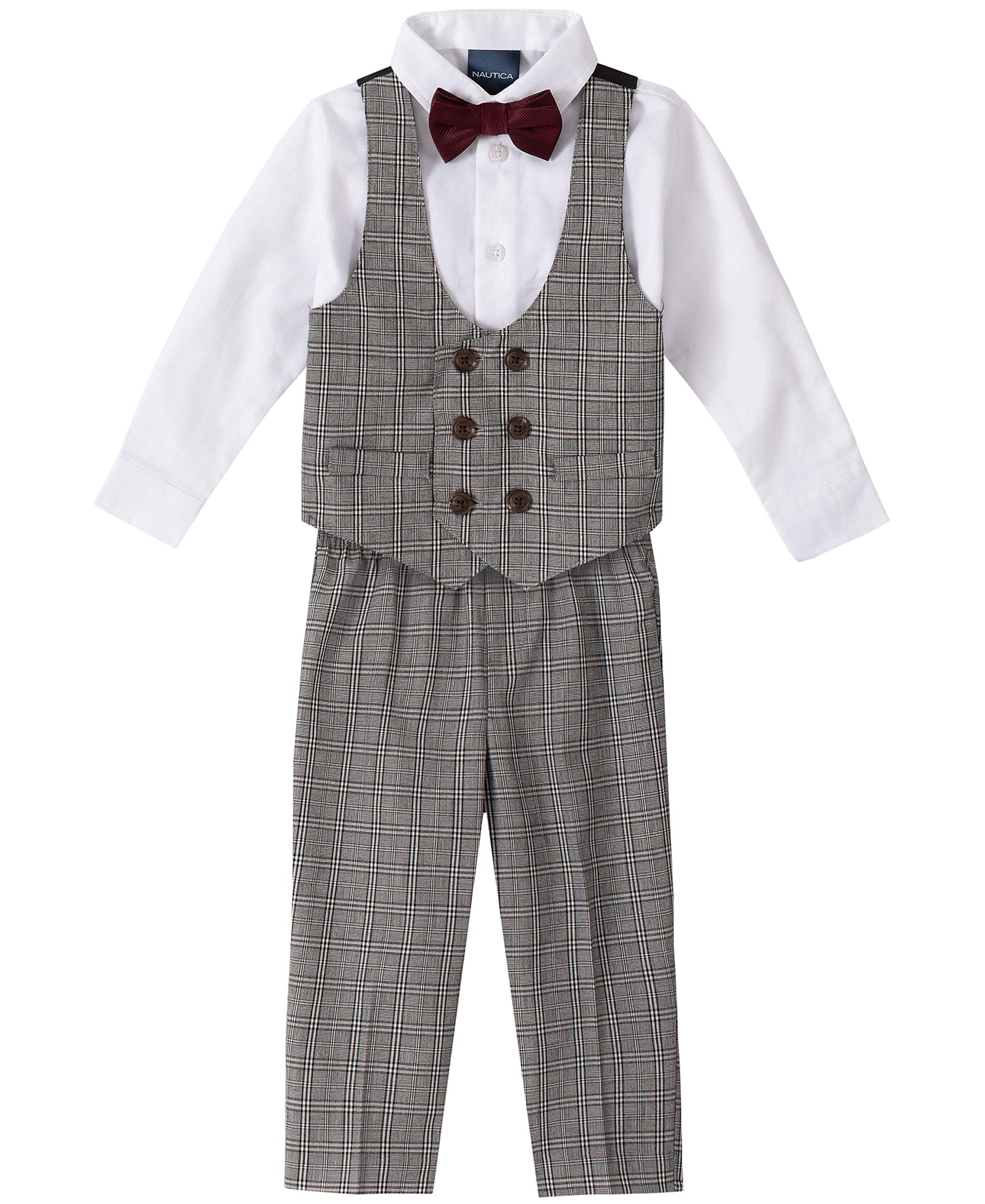 Nautica Baby Boys 4-Piece Set with Dress Shirts, Vests, Pants, and Bow Ties, Plaid Grey, 24 Months by Nautica
