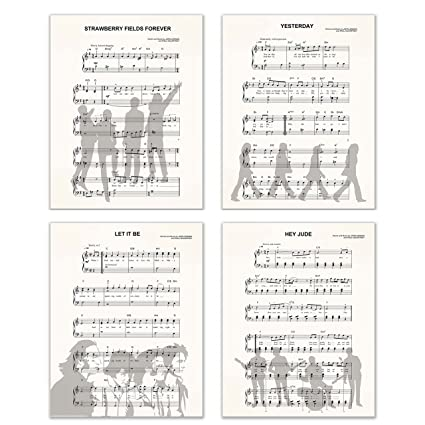 Beatles Sheet Music Silhouette Prints Set Of Four 4 Prints Size 11x14 Unframed Prints Matte Finish Let It Be Yesterday Strawberry Fields
