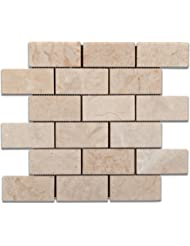 "Bursa Beige / Sandy Beige Marble 2 X 4 Polished Brick Mosaic Tile - 6"" X 6"" Sample"