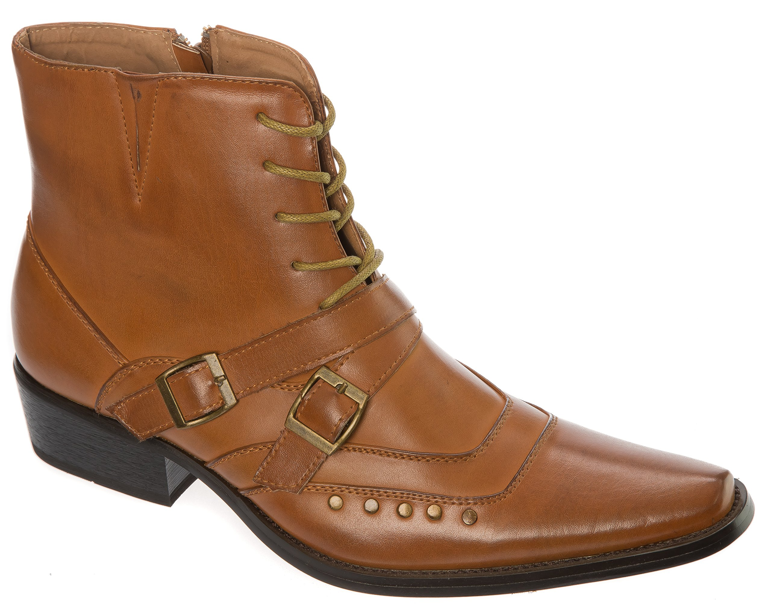 Alberto Fellini Size 11 Mens Brown Western-Boots Slip On Belt Buckle Side Zipper Cowboy Boots