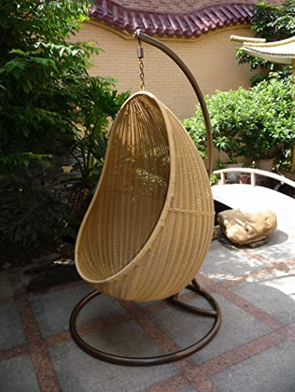 Rattan Swing Outdoor Patio Wicker Swing Lounge Chair Hanging Egg Chair  Hammock 34X22X78 Inch