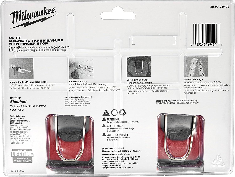 Milwaukee 25/' Magnétique Ruban à mesurer avec crochet et doigt Stop 48-22-7125