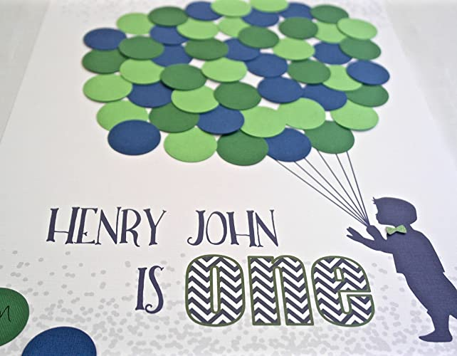 1st Birthday Party Boy Decor Navy Blue And Green One Year Old Guest Book Alternative