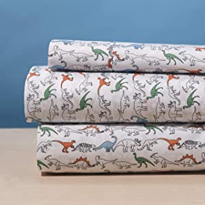 Elegant Home White Orange Green Dinosaurs Jurassic Park Design 3 Piece Printed Sheet Set with Pillowcase Flat Fitted Sheet for Boys/Kids/Teens # Dinosaur (Twin Size)