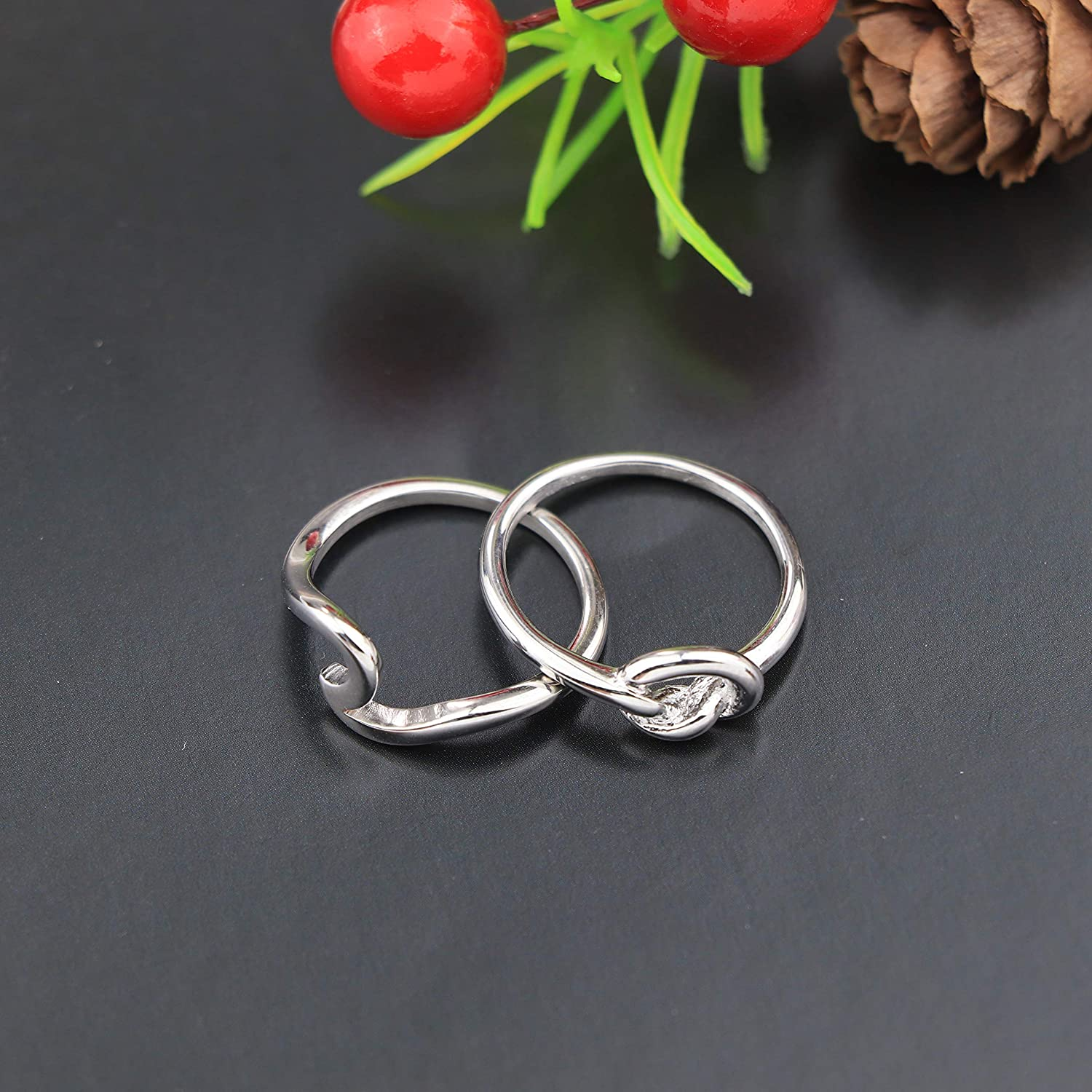 Sllaiss 2Pcs Engagement Wave Band Rings Stainless Steel Love Knot Rings Set Summer Beach Ocean Thumb Rings for Women Fashion Jewelry Size 4-10