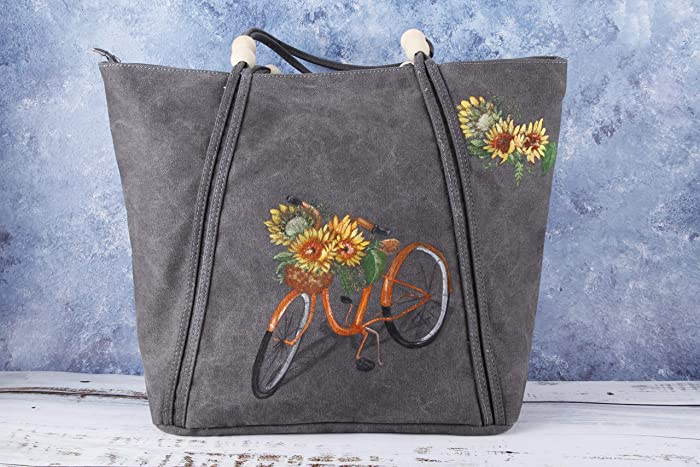 5fb591aa79a2 Hand Painted Sunflower Vegan Large Waxed Canvas Tote Bag with Pocket  Zipper-Women Grey Fabric College School Oversize Shoulder Bag Handbag-Boho  Flower ...