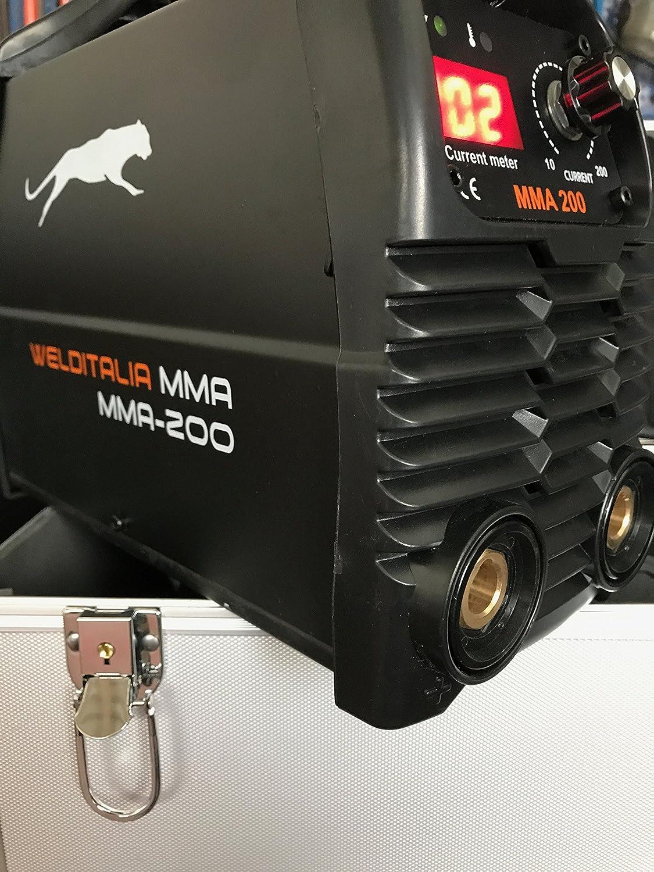 Welditalia - Soldador Inverter 200 A con maletín, cables: 3 + 2 metros Máscara ajustable LCD Ghost 9/13 DIN: Amazon.es: Bricolaje y herramientas