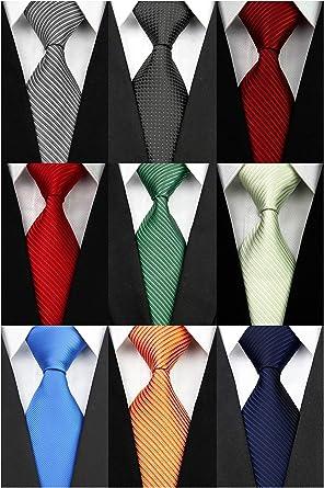 Wehug Lot 9 PCS Classic Men's tie 100% Silk Tie Woven Jacquard Neckties  Solid Ties for men style001 at Amazon Men's Clothing store