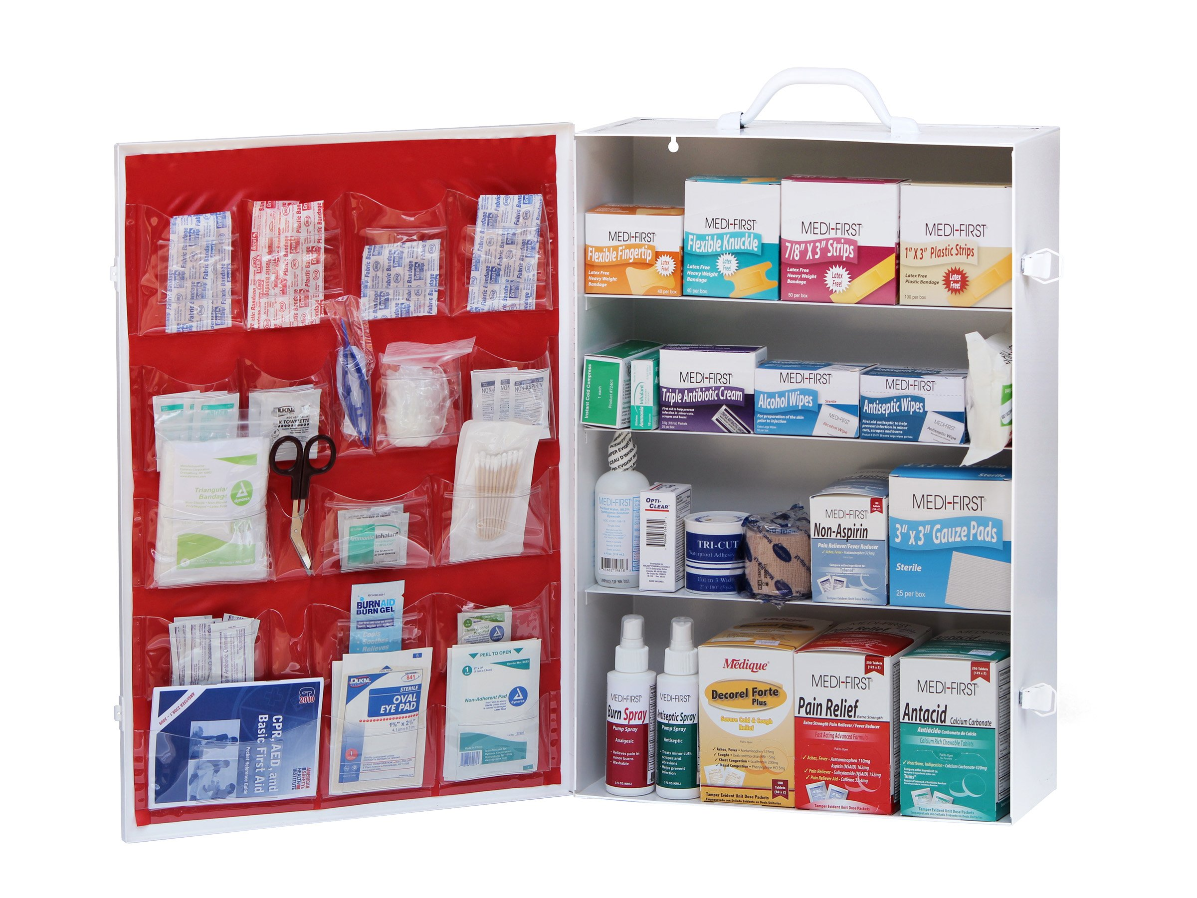 Medique Products 734M1 4-Shelf Metal First Aid Cabinet, Filled by Medique