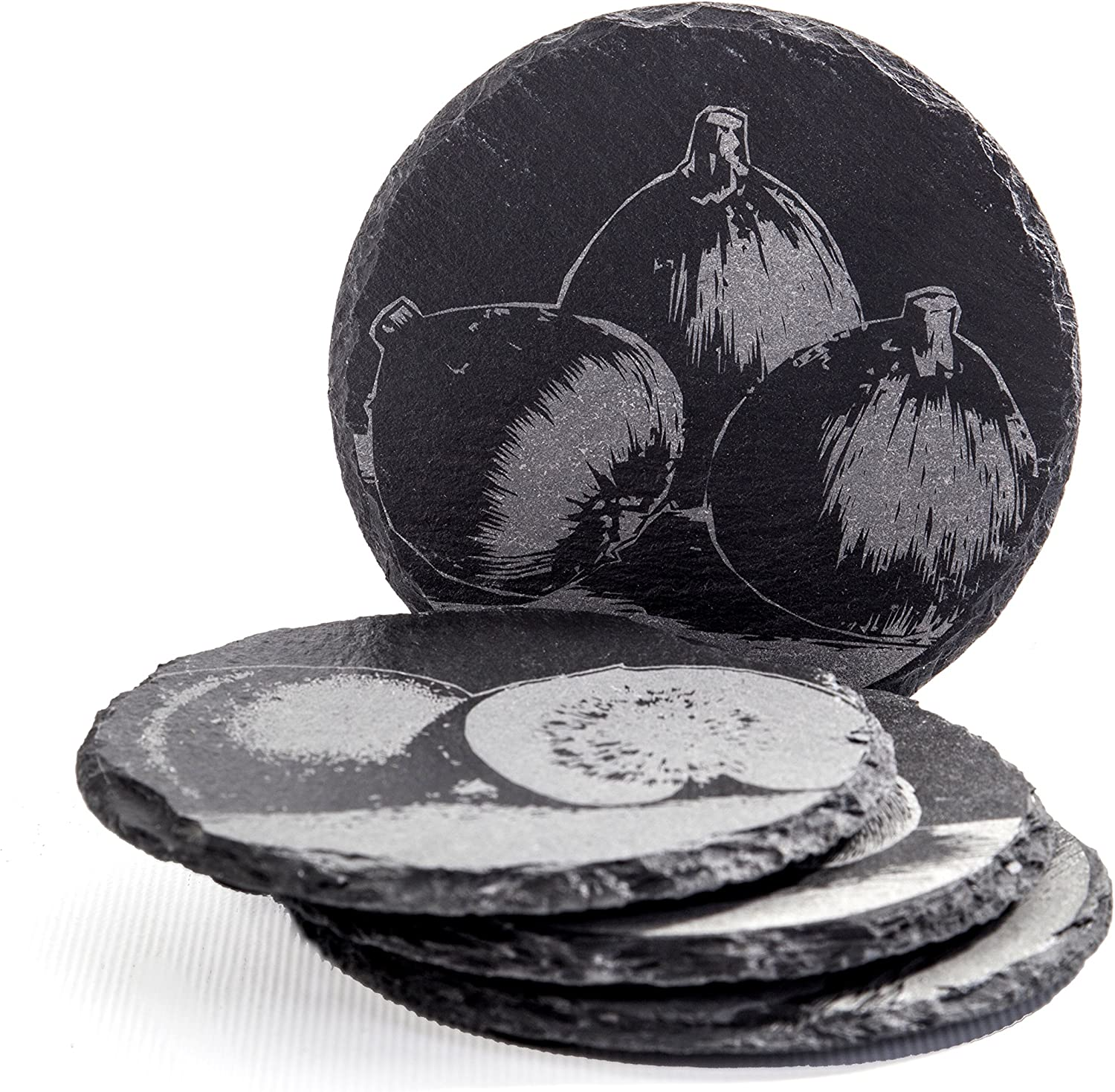 Bia Cordon Bleu Savoir Faire 4 Inch Round Slate Coasters Set Of 4 Assorted Designs Gift Boxed Coasters