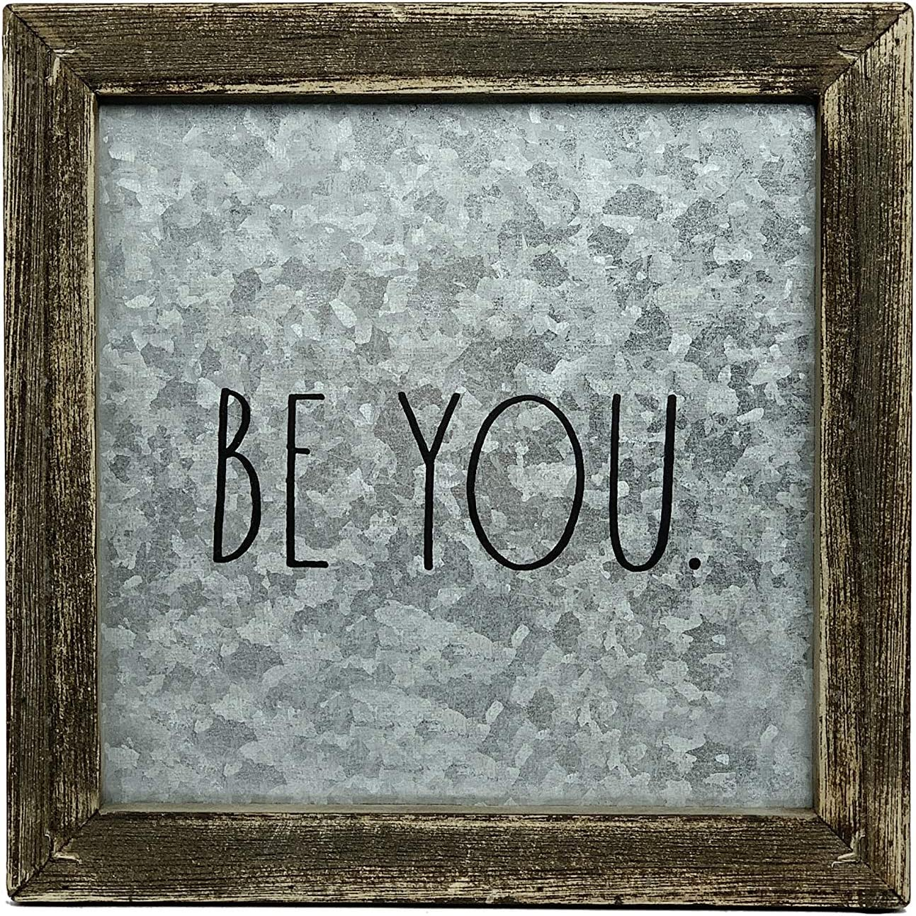 "Rae Dunn ""Be You"" Desk Plaque - Inspirational Message Desktop Sign for Home and Office Décor - Motivational Vintage Display for Cubicle, Work Space - Chic Distressed Wood and Metal"