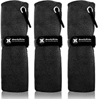 Microfiber Golf Towel (40 X 40cm) with Carabiner Clip, Hook n Loop Strap - The Convenient Golf Cleaning Towel Pack by Handy Picks