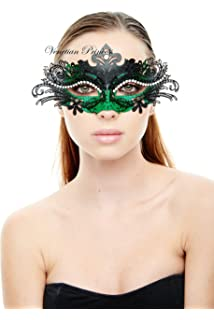 KAYSO INC Exclusive Eyes of Angel Laser Cut Masquerade Mask, Black & Green