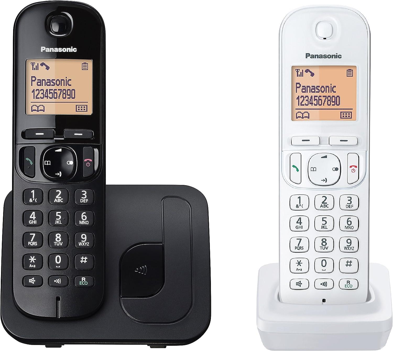 Panasonic TELÉFONO INALÁMBRICO DECT KX-TGC212JT1 Negro con Terminal Adicional Blanco Pantalla LCD Bloqueo Llamadas NO DESEADAS