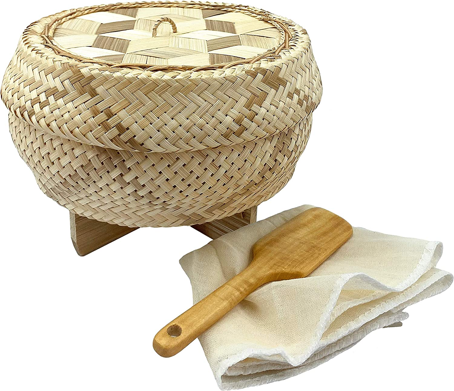 """Handmade 100% Natural Thai Bamboo Sticky Rice """"Electric Cooker Steamer Set"""", Small Pot Insert ~ 6.5 Inch, Checkered Wicker Woven Lid, 16'' Cheesecloth Filter, and Wooden Spoon"""