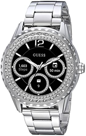 8a572b15a0da6d GUESS Women's Connect Androidwear Touchscreen Watch with Stainless Steel  Strap, Silver, 10 (Model