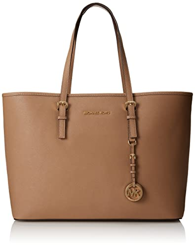 6b752bc5858c31 Michael Kors Women's Handbag Medium Jet Set Multifunction Saffiano Travel  Tote Dark Khaki