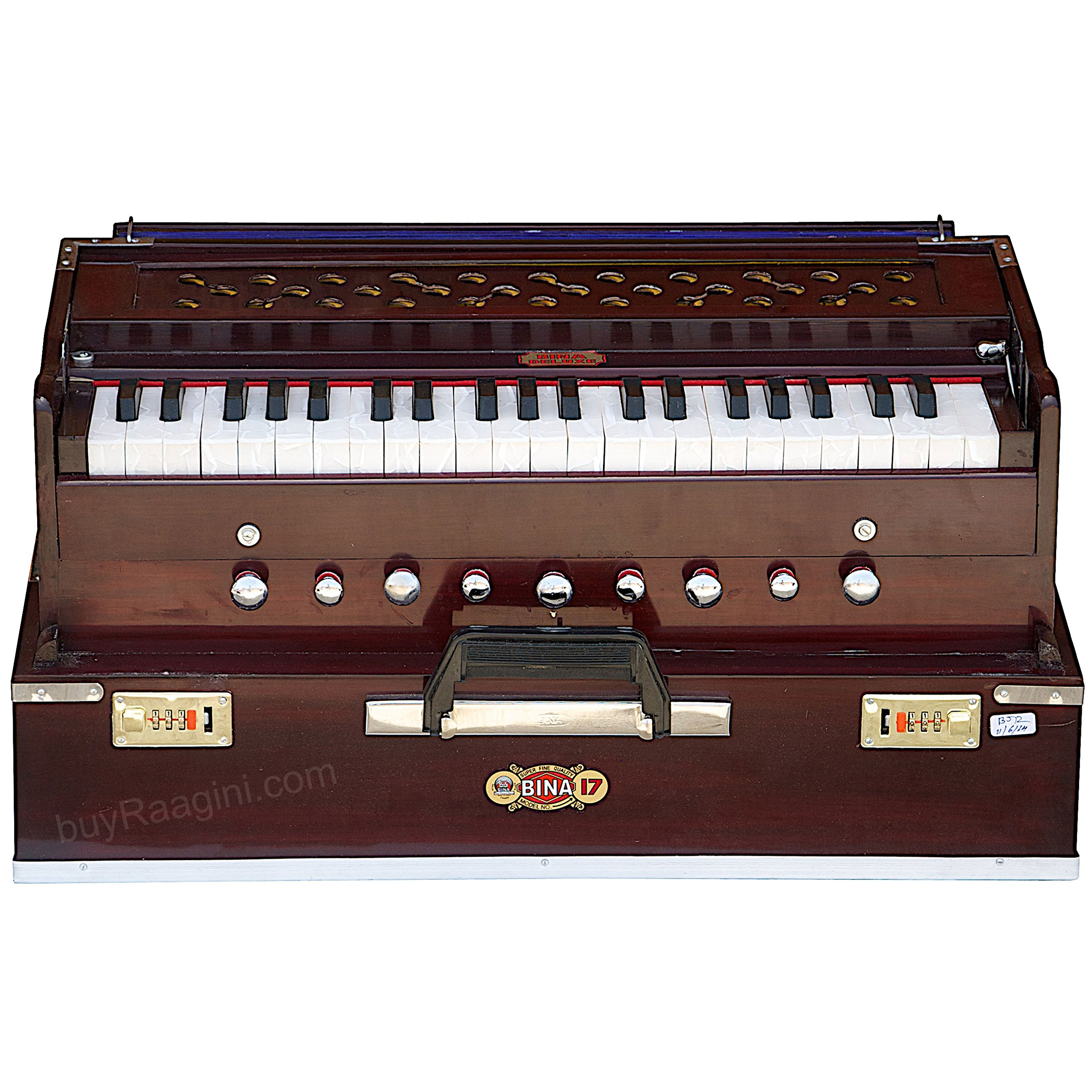 Harmonium BINA No. 17 Delux, In USA, Folding, Special Double Reed, Safri, Kirtan, 9 Stops, Rosewood Color, Coupler, Comes with Book and Nylon Bag (PDI-AGG) by Bina